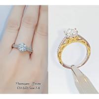 Cincin wanita mewah silver dengan permata zircon menyerupai berlian