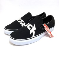sepatu vans slip on classic metalica 100% import original premium