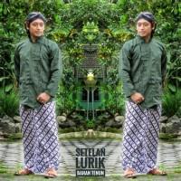 Baju Surjan set jarik bonus blangkon / setelan pakaian adat Jawa lurik