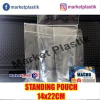 Plastik Ziplock Standing Pouch Ukuran 14x22cm-Plastik Klip Kemasan Ber