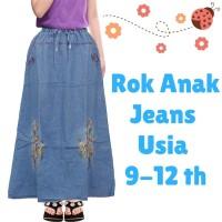 Rok Panjang Anak Bahan Jeans Motif Bordir Bunga Usia 9-12tahun