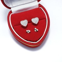 Giwang Love Perak 925 Lapis Emas Putih / Anting Tusuk / At165