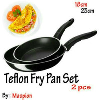 Maspion DOUBLE FRY PAN SET HITAM MASPION 18CM + 23CM teflon frypan