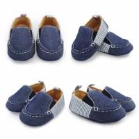 Sepatu Import Prewalker Shoes Anak Bayi Laki-Laki Denim Garis