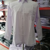 Pakaian Seragam Lengan Panjang SMP, SMA. Baju Kemeja Putih Polos