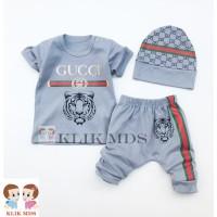 Klik Mds Baju Setelan Anak Bayi Laki-Laki Motif Karakter Guci Lion - 3-9 bulan, Abu-abu Muda