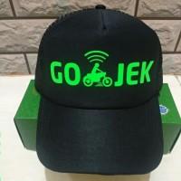 Topi Gojek Jaring Hitam Polos - sablon hijau Polyflex(murah)