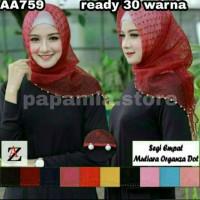 AA759- A Hijab jilbab segiempat MUTIARA organza dot 1-20
