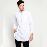 VM Gamis Pakistan Baju Koko Muslim Panjang Slimfit Putih