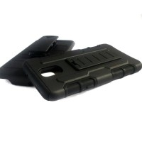 LG X Screen K500 Future hybrid armor case stand with belt clip holster