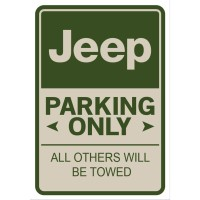 Jeep Parking Only Plat Alumunium
