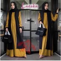 Gamis Lazeka Jumbo Maxi Dress Syari Muslimah Big Size Model Terkini
