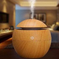 Aromatherapy Air Humidifier Desain Kayu - Coklat Muda