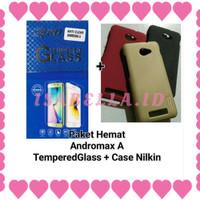 TERBARU Paket Tempered Glass plus Hard Case Andromax A Nillkin