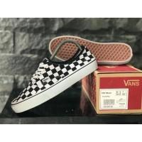 sepatu vans pria casual authentic checker board black white