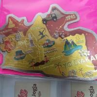 Souvenir Yogyakarta Magnet Kulkas Maps Foil Kuning