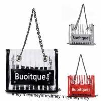 boutique fashion bag tas selempang transparant wanita 2in1 tali rantai