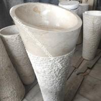 wastafel batu alam marmer putih set pedistal