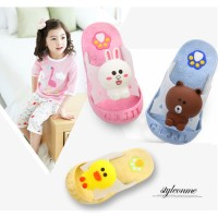 [Baby Ai] Sandal slop anak motif brown cony sally line lucu
