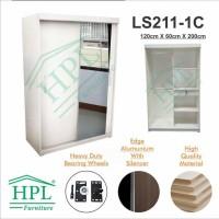Big Sale Lemari Pakaian Hpl Sliding 2 Pintu Putih Glossy+Kaca 1 Pintu