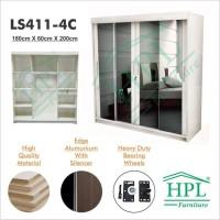 Terpopuler Lemari Pakaian Hpl+Kaca Sliding 4 Pintu Putih Glossy