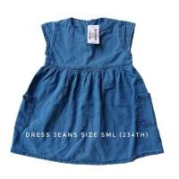 Dress Jeans Denim Bayi Anak Saku Casual Gaun Pendek Kantong Balita 1-4