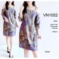 VN1052 - DRESS PESTA BATIK PRADA SABRINA DRESS KANTOR BATIK WANITA