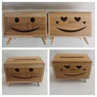 kotak tisu tempat tisue model karakter emotion lucu full kayu jati