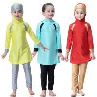 Baju Renang Anak Muslim Pakaian Renang Anak Perempuan dengan Kerudung
