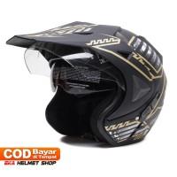 Helm Dewasa WTO Helmet Pro-Sight Cross - Hitam Doff Gold