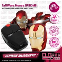 TaffWare Wireless Iron Man Style Optical Mouse Silent Click 2.4Ghz