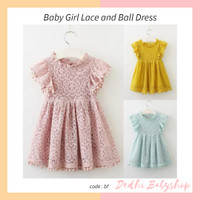 Dress Anak Brukat Lace and Ball Gaun Anak Import Kuning Pink Biru