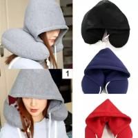 Bantal Leher Ber Topi Lembut Nyaman Dipakai Travel Pillow Hooded SoftU