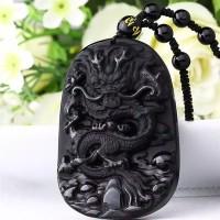 Kalung Liontin Obsidian Motif Naga Gaya Cina