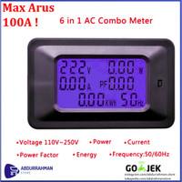 Digital Volt Amp Watt Ampere Kwh Meter Voltmeter Ammeter AC 220V 100A