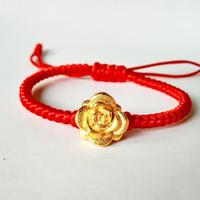 Gelang Tali Merah Gold Rose Lapis Emas 24K
