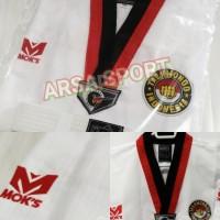 Dobok Moks Master Baju Taekwondo Kerah Merah Hitam Poom Tekwondo