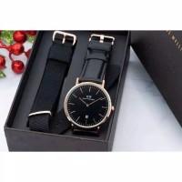 jam tangan DANIEL WELLUNGTON FULL SET PLAT BLACK LEATHER