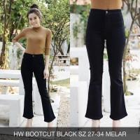 Celana Jeans Wanita HW Highwaist Bootcut Black Cutbray Big Size Jumbo
