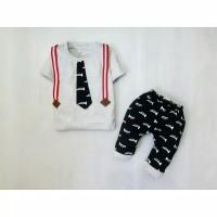 Setelan untuk anak bayi cowok usia 6-18 bulan IMK Motif Suspender Tero