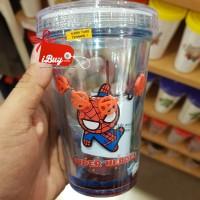 Miniso Spiderman Cute Botol Minum With Straw sedotan and Cute hero