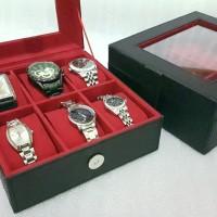 [EXPORT QUALITY]-tempat jam tangan isi 6 black inner red - Hitam
