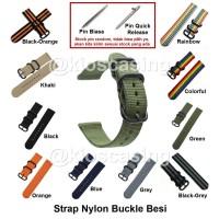 Samsung Gear S2 Classic 20MM 20 MM - Tali Jam Strap Nylon Buckle Band - A 12 - 17 cm, Black