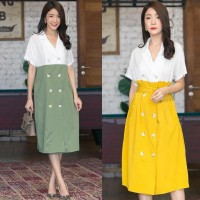 Baju Wanita RENNIE BUTTON TWOTONE DRESS
