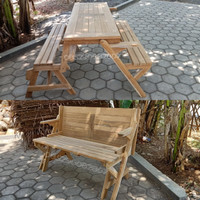 Kursi Bangku Makan Taman Outdoor Minimalis Meja Lipat Kayu Jati