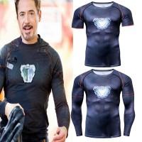 The Avenger Iron Man Kaos T-Shirt Compression Print 3D untuk Fitness C