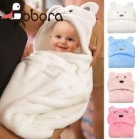 BOBORA Handuk Selimut Katun Hoodie Motif Print Binatang untuk Bayi