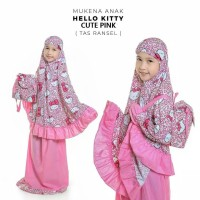 MUKENA ANAK HELLO KITTY CUTE PINK TAS RANSEL SIZE XL (9-10TH)