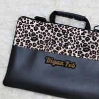 Kulit Kombinasi Leopard 13-14 Inch Tas Laptop Leptop Notebook Macbook