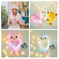 LED Cute Rabbit Ear Cap Hat Topi Kelinci Telinga Gerak Goyang Bunny